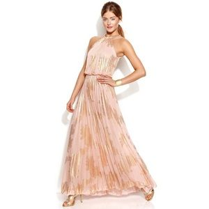 Xscape gold and pink halter gown *LIKE NEW*